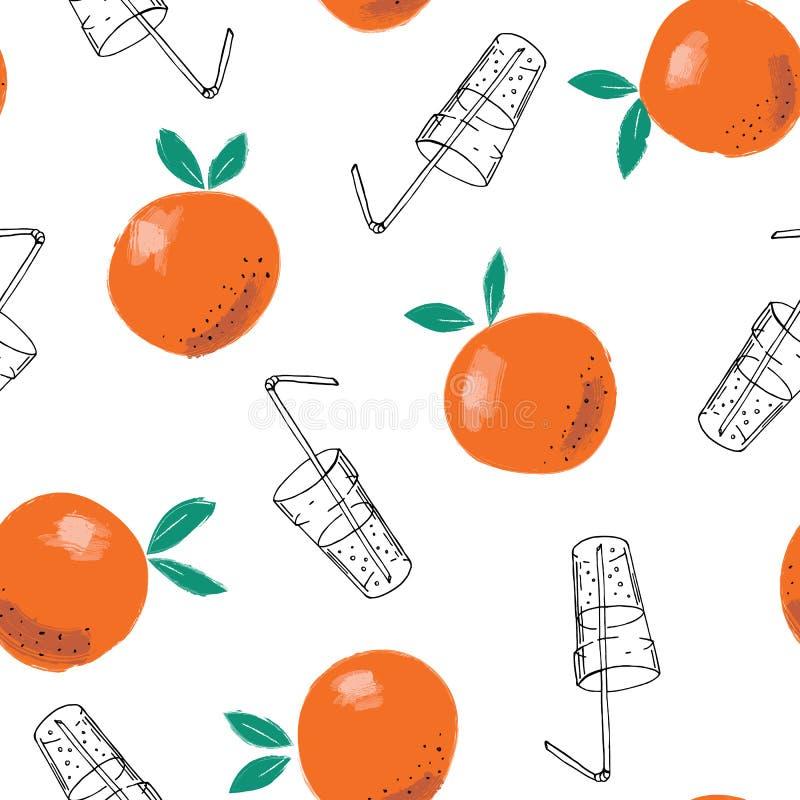 Nyckfull hand-målad bakgrund för modell för apelsin- och för klotterfruktsaftexponeringsglas vektor sömlös Linje Art Summer Fruit royaltyfri illustrationer