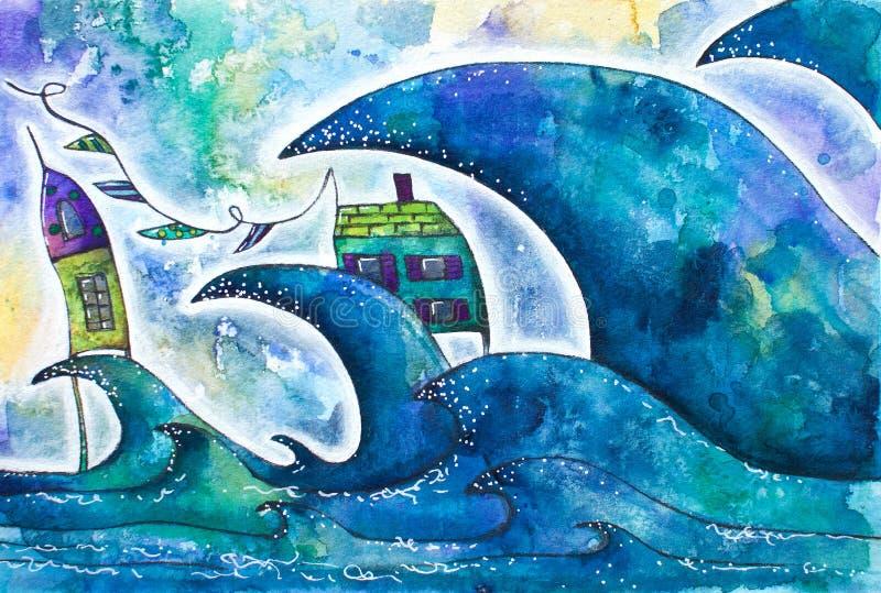 Nyckfulla hus i storm med vågor och vind stock illustrationer