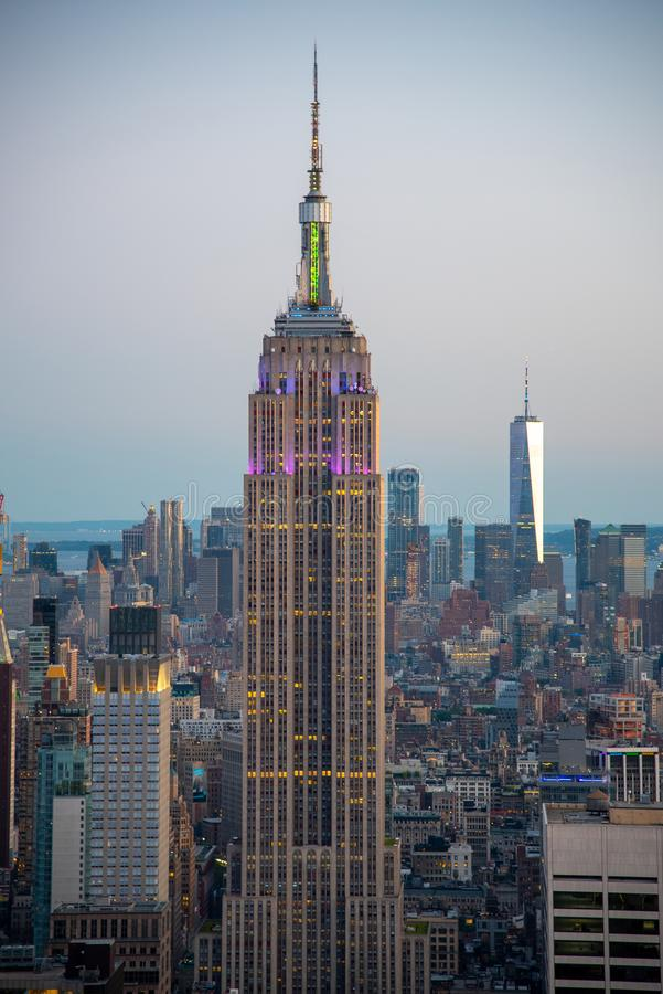 Looking South from the top of Manhattans midtown during 2019 gay pride (NYC, USA. NYCs lower Manhattan with the Empire State Building from a high up point in royalty free stock photography