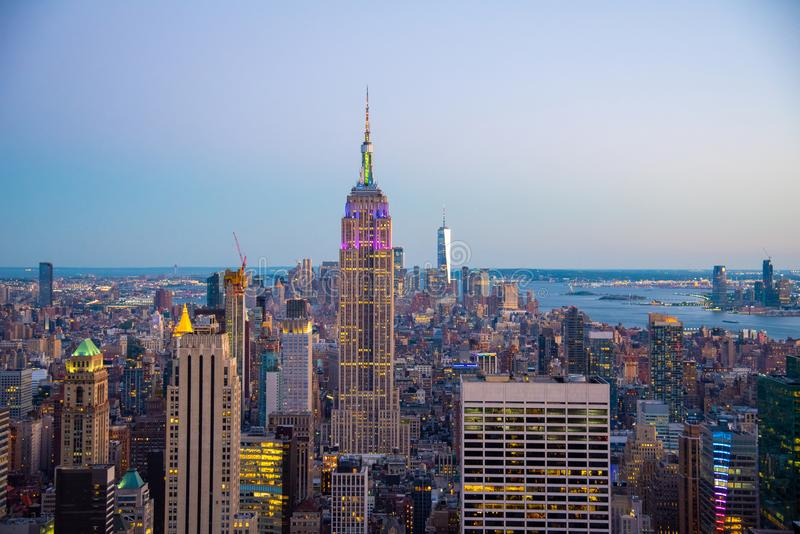 Looking South from the top of Manhattans midtown during 2019 gay pride (NYC, USA. NYCs lower Manhattan with the Empire State Building from a high up point in stock image