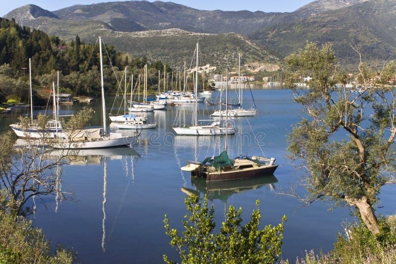 Nydri bay at Lefkada, Greece royalty free stock photography