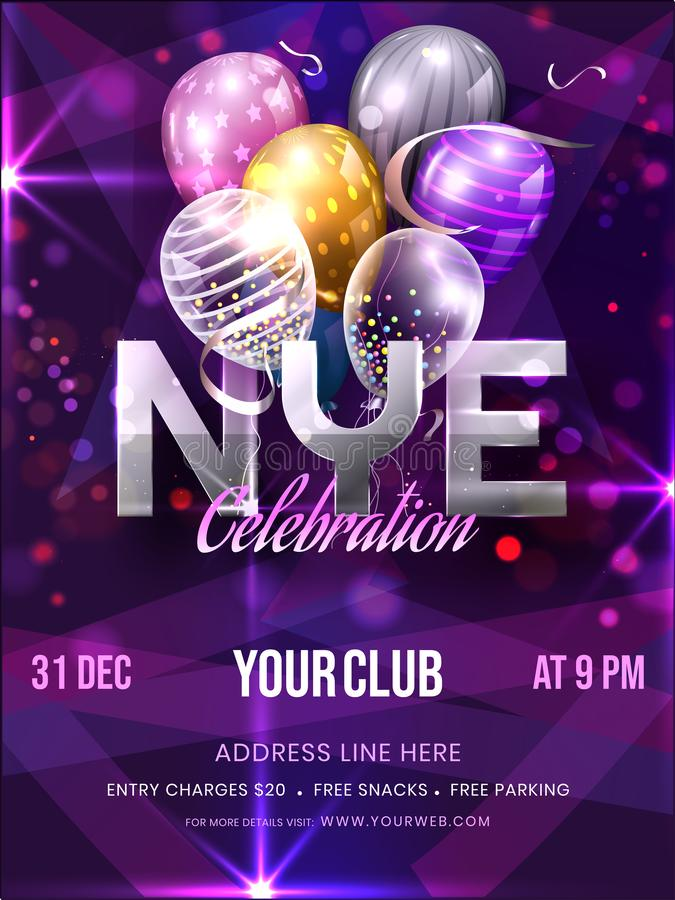NYE Celebration Invitation, Template or Flyer Design with Balloons and Event Details on Purple Bokeh Light Background 向量例证