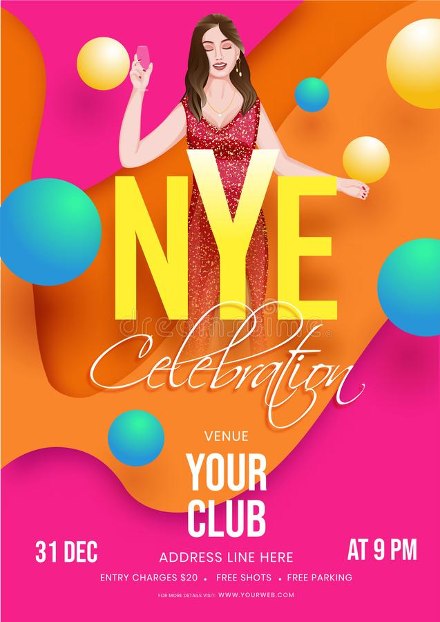 NYE Celebration Template or Flyer Design with Modern Young Girl Drinking 向量例证