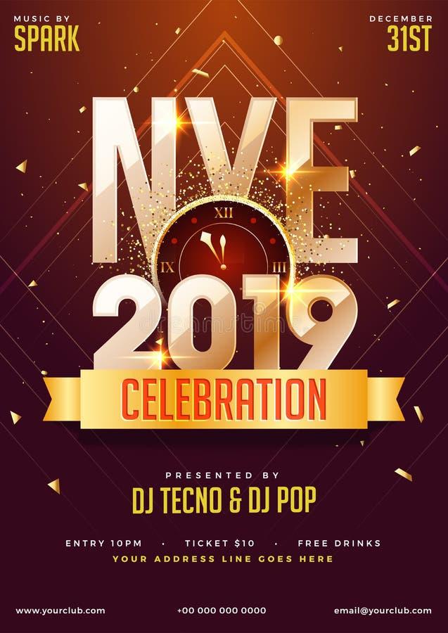 NYE (nowy rok wigilia) 2019 świętowania szablonu Partyjny projekt z t royalty ilustracja