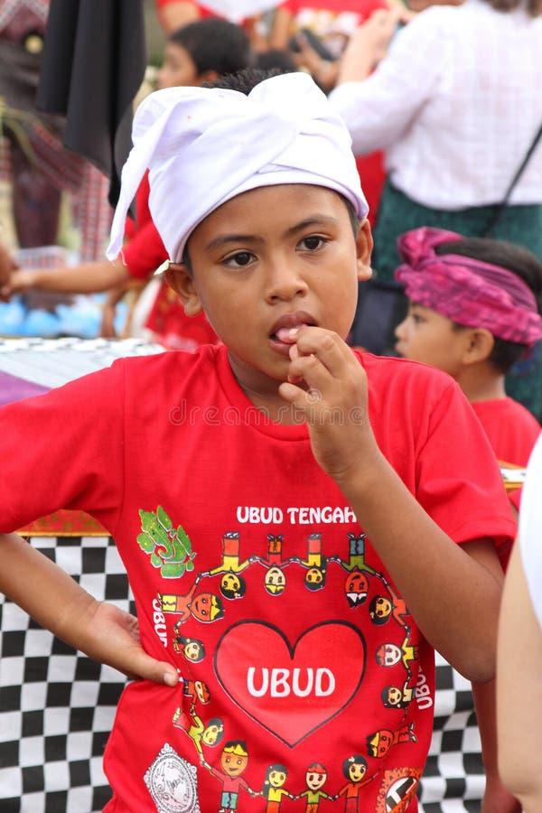 Nyepi节日的巴厘语男孩 免版税图库摄影