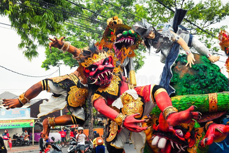 Nyepi -天沈默,在热带海岛巴厘岛上的新年好, 图库摄影