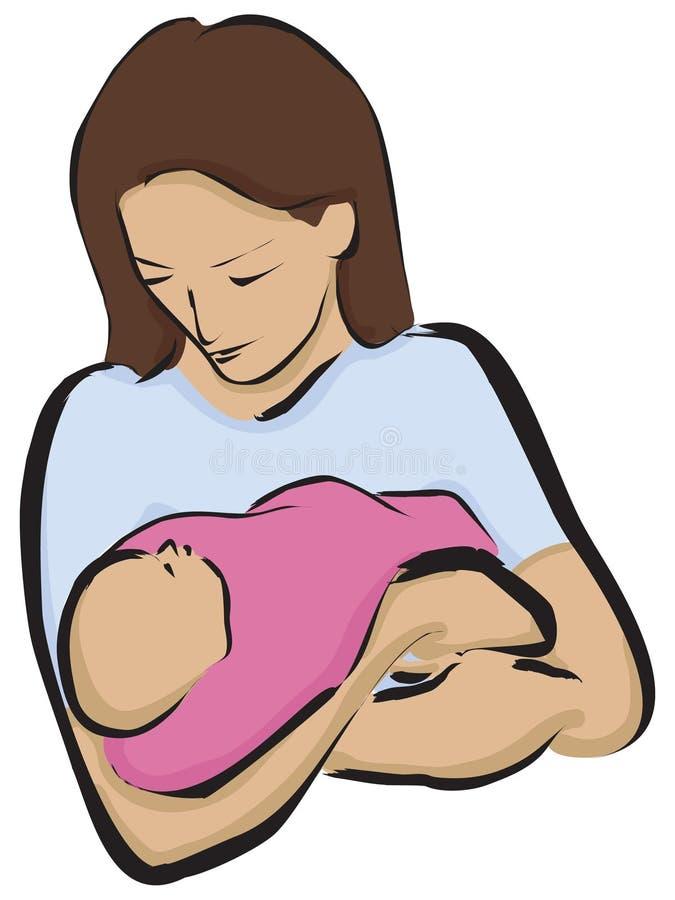 nyfödd moder vektor illustrationer