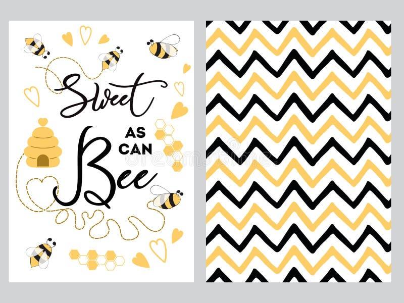 Nyfödd söt banerdesigntext, som kan biet dekorerade för Zig Zag för bihjärtahonung söta uppsättningen för bakgrund för svart guli royaltyfri illustrationer