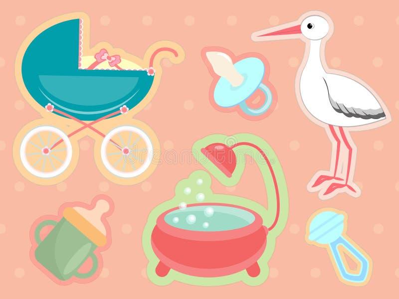 nyfödd tillbehör royaltyfri illustrationer
