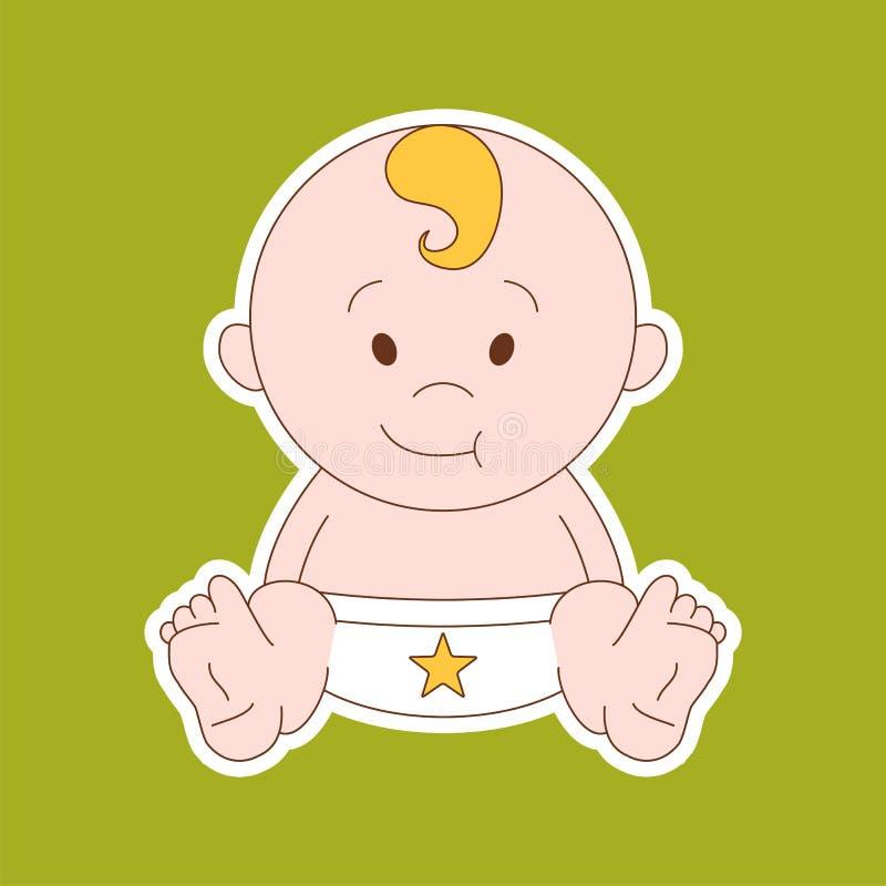 Nyfödda små behandla som ett barn - stiliserad konst för logoer, tecken, symboler och D royaltyfri illustrationer