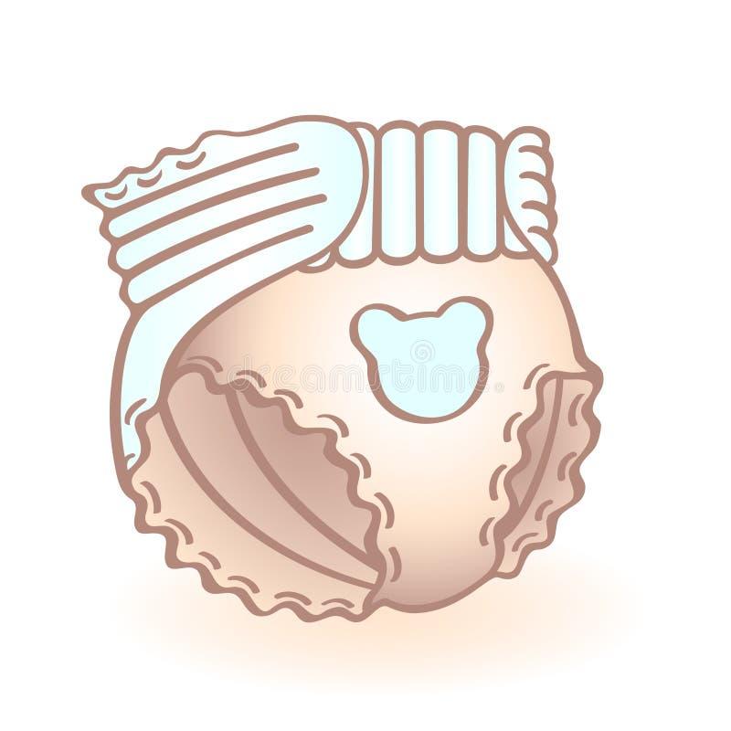 Nyfött behandla som ett barn blöjan, nappy med den blåa björnen formad garnering begynnande symbol Barnobjekt stock illustrationer
