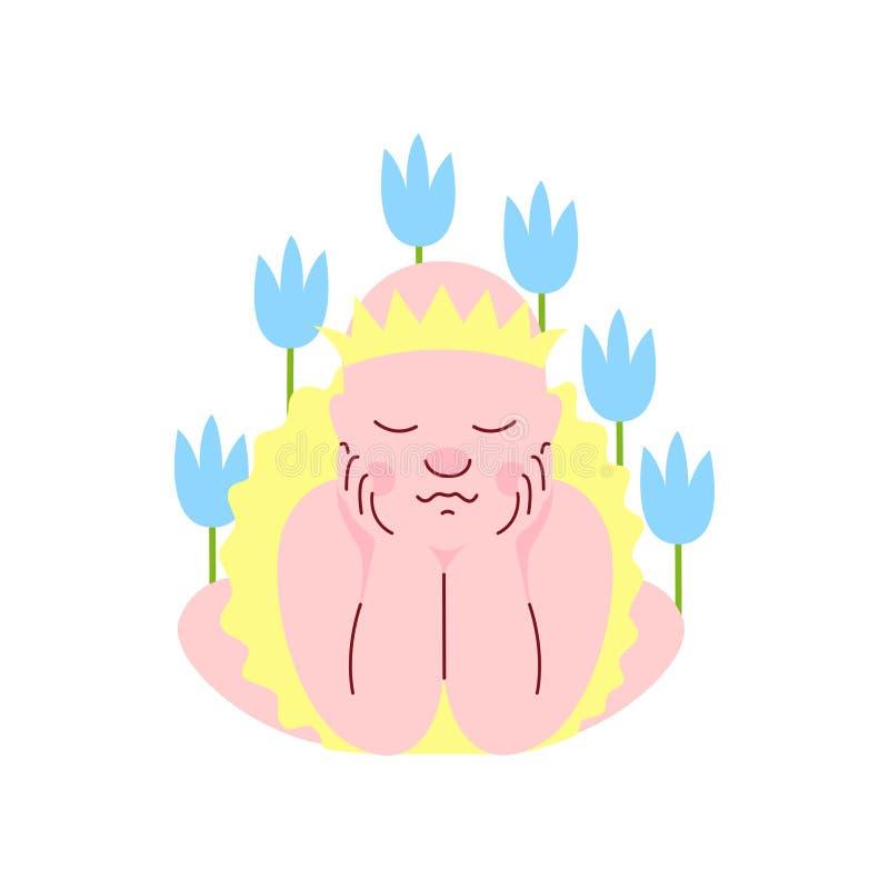 Nyfött behandla som ett barn klätt som prinsessan Sleeping i blommavektorillustration royaltyfri illustrationer
