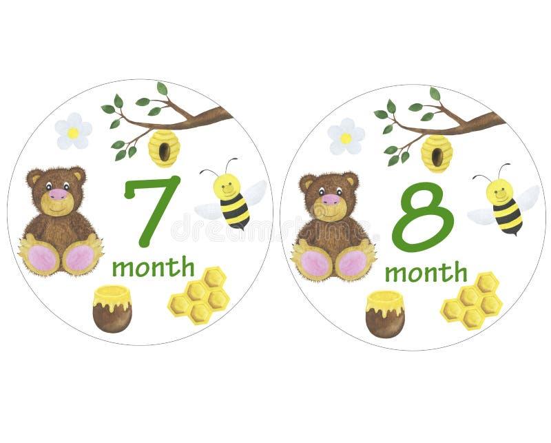 Nyfött behandla som ett barn klistermärkear för klistermärkear för designen för perioden för fotoet för månadvattenfärgillustrati vektor illustrationer