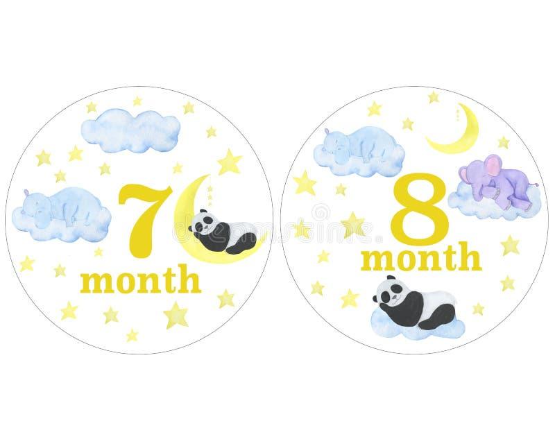Nyfött behandla som ett barn klistermärkear för klistermärkear för designen för perioden för fotoet för månadvattenfärgillustrati stock illustrationer