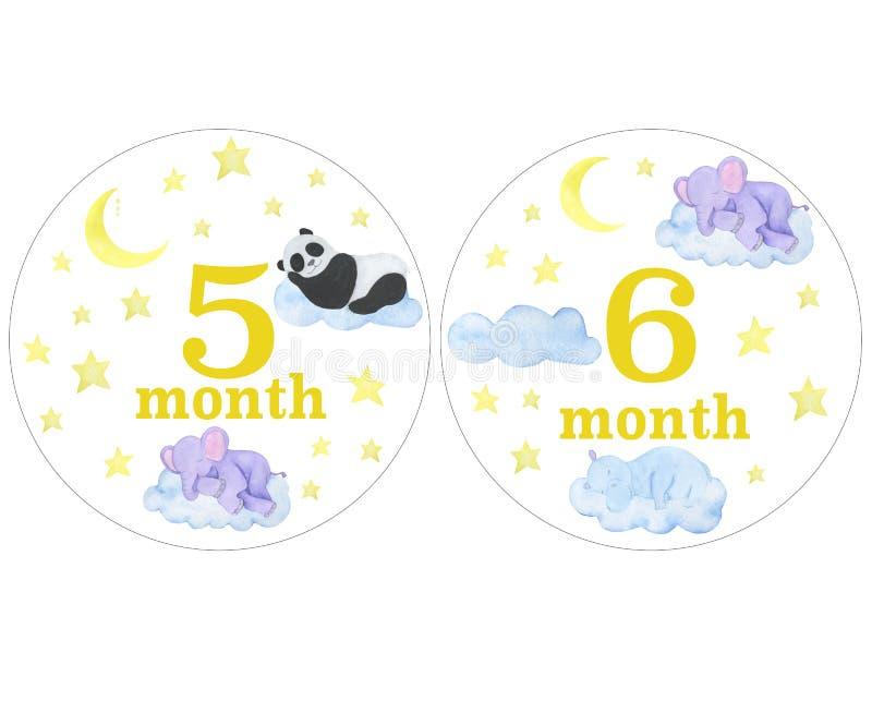 Nyfött behandla som ett barn klistermärkear för klistermärkear för designen för perioden för fotoet för månadvattenfärgillustrati royaltyfri illustrationer