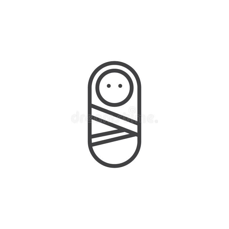 Nyfött behandla som ett barn linjen symbol stock illustrationer