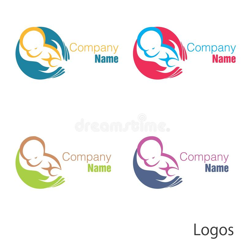 Nyfött behandla som ett barn logohanden vektor illustrationer