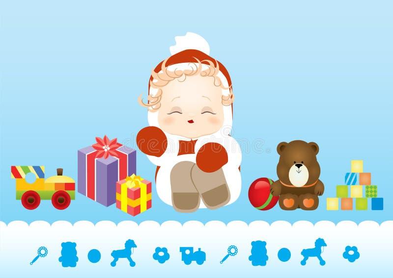 Nyfött behandla som ett barn sammanträde i dräktjultomten som omges av leksaker och gåvor royaltyfri illustrationer