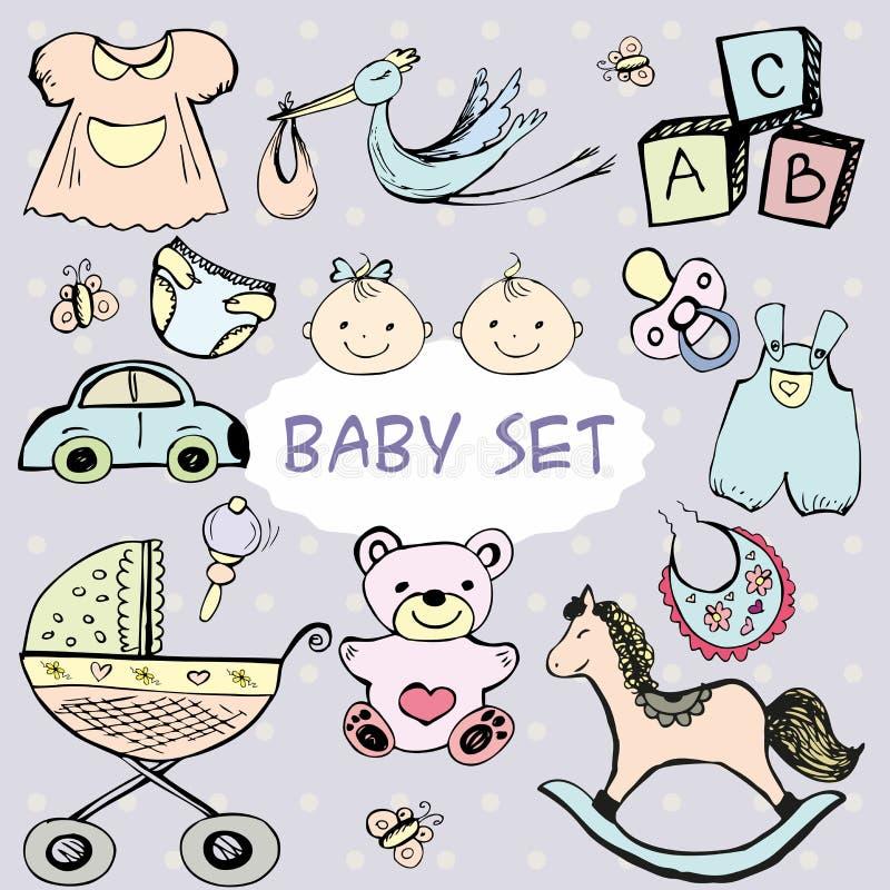 Nyfött behandla som ett barn uppsättningen med gulliga symboler stock illustrationer