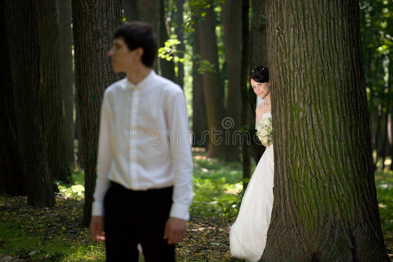 nygift person royaltyfri bild