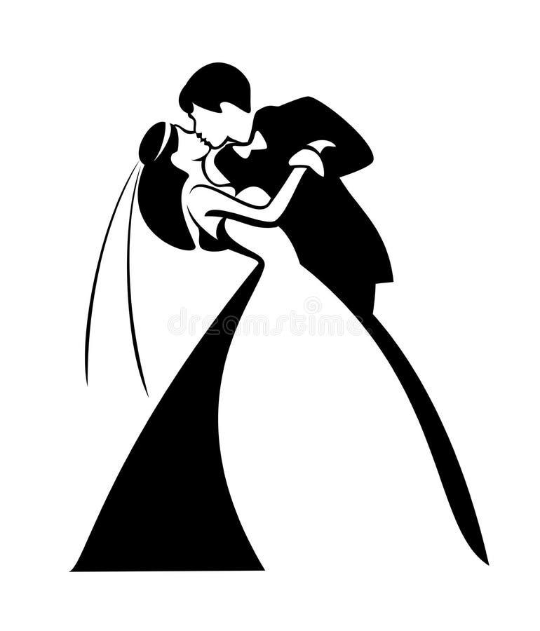 Nygift person kyssande par vektor illustrationer