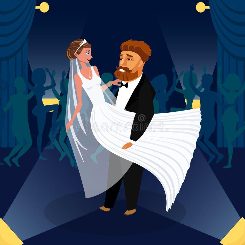 Nygifta personen kopplar ihop den första dansvektorillustrationen royaltyfri illustrationer