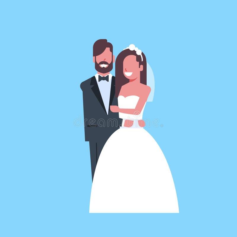 Nygifta personer att gifta sig precis mankvinnan som tillsammans omfamnar för för parbrud och brudgum för anseende romantiskt  stock illustrationer