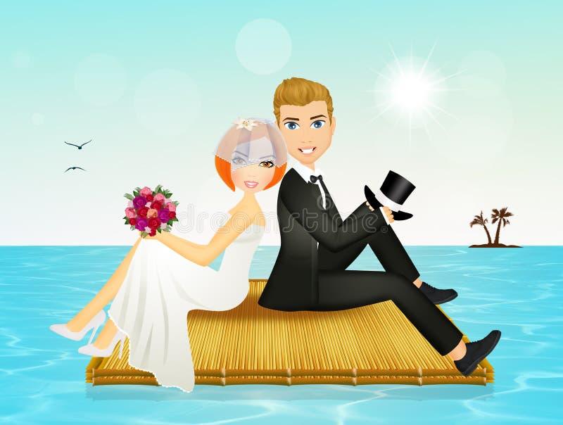 Nygifta personer på deras bröllopsresa vektor illustrationer