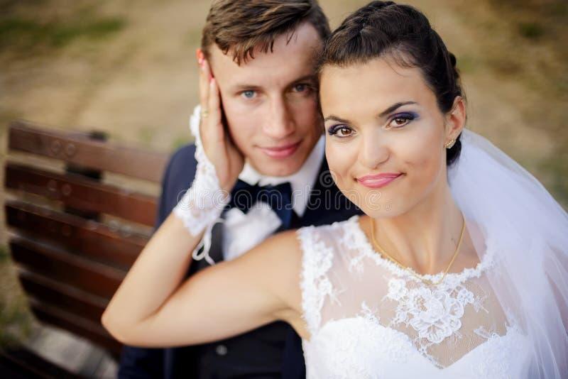 Nygifta personer som sitter på bänken parkerar in royaltyfri fotografi