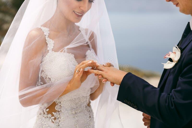 nygifta personer utbytte vigselringar fotografering för bildbyråer