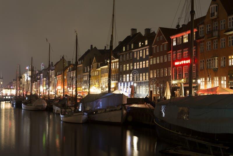 Nyhavn在哥本哈根,丹麦 库存图片