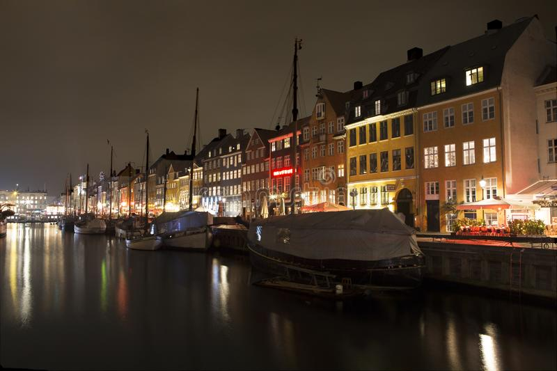 Nyhavn in Copenhagen, Denmark. Copenhagen/Denmark - January 31th, 2017: Nyhavn in Copenhagen, Denmark, at night stock photography
