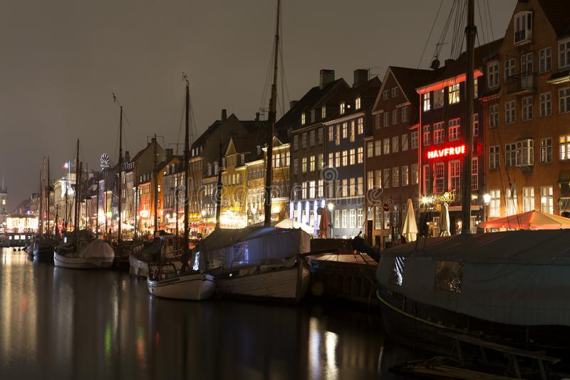 Nyhavn in Copenhagen, Denmark. Copenhagen/Denmark - January 31th, 2017: Nyhavn in Copenhagen, Denmark, at night stock images