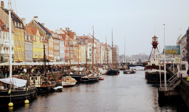 Nyhavn in Copenhagen, Denmark. Panorama of Nyhavn in Copenhagen, Denmark, on a cloudy day royalty free stock images