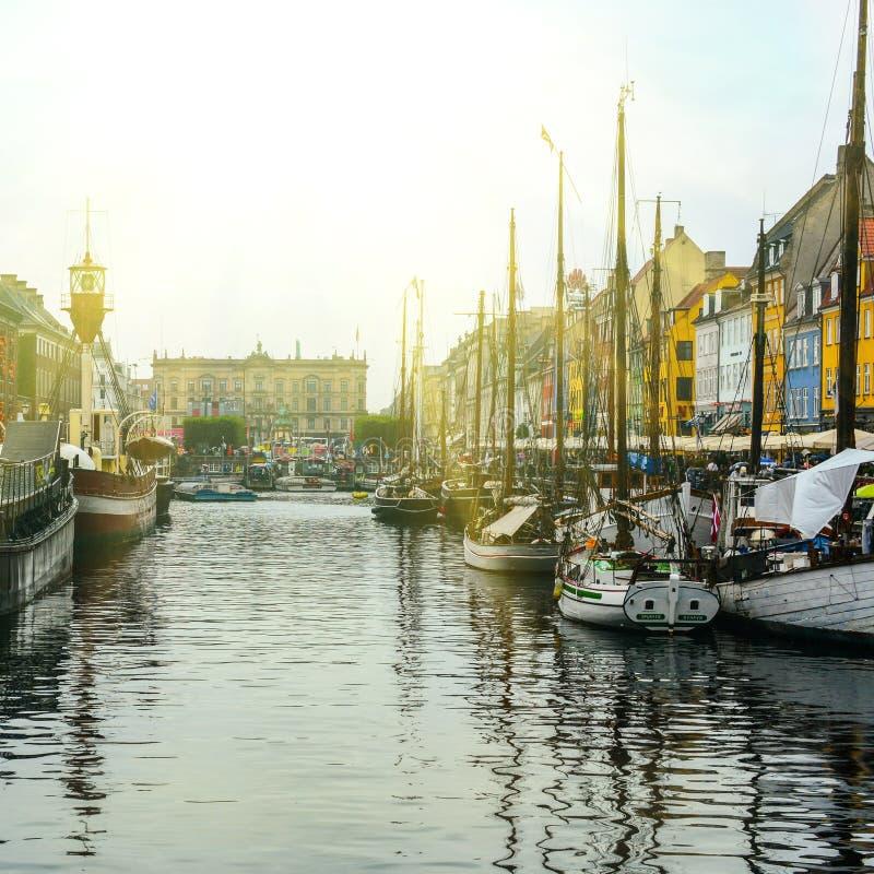 Nyhavn district in Copenhagen stock photos