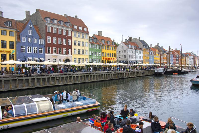 Nyhavn harbor in the center of Copenhagen stock photos