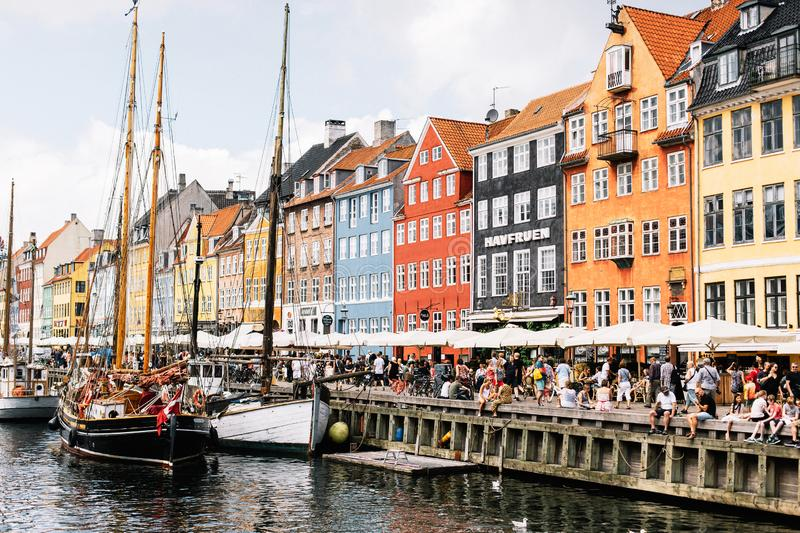Nyhavn harbor on a warm summer day royalty free stock photography