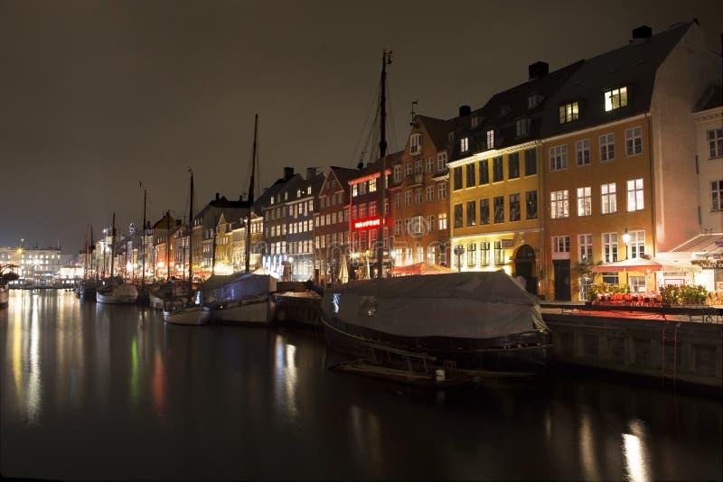 Nyhavn in Kopenhagen, Denemarken stock fotografie