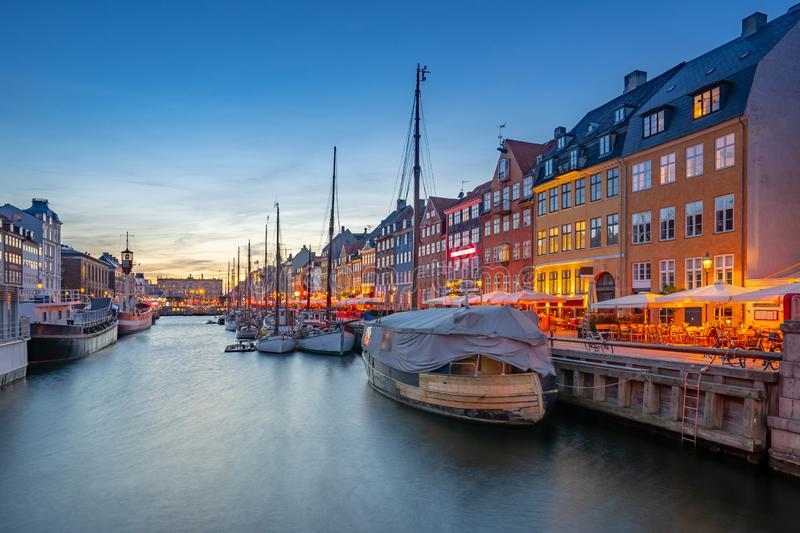 Nyhavn landmark buildings in Copenhagen city, Denmark.  royalty free stock images