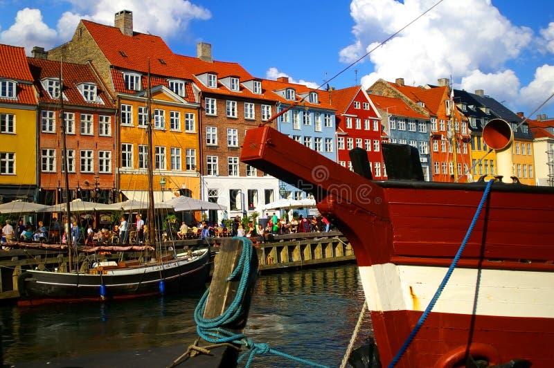 Nyhavn (nieuwe Haven) in Kopenhagen, Denemarken. royalty-vrije stock foto