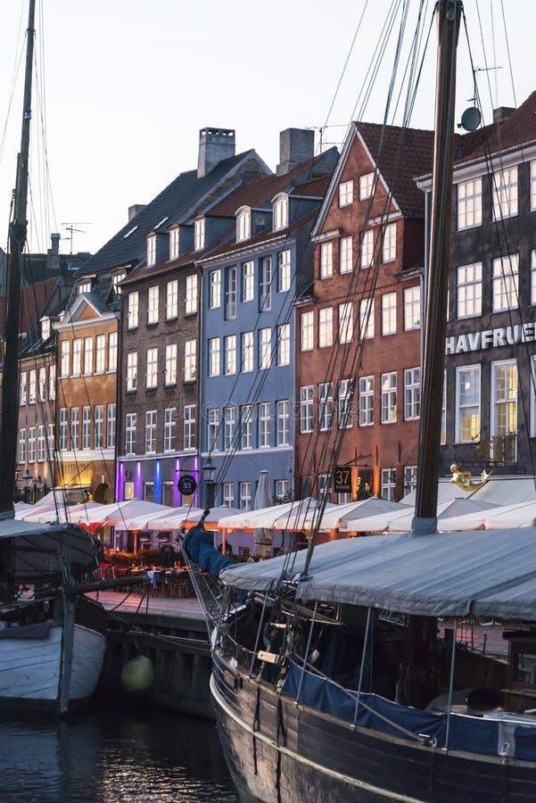 Nyhavn of Nieuwe haven, Kopenhagen, Denemarken stock fotografie
