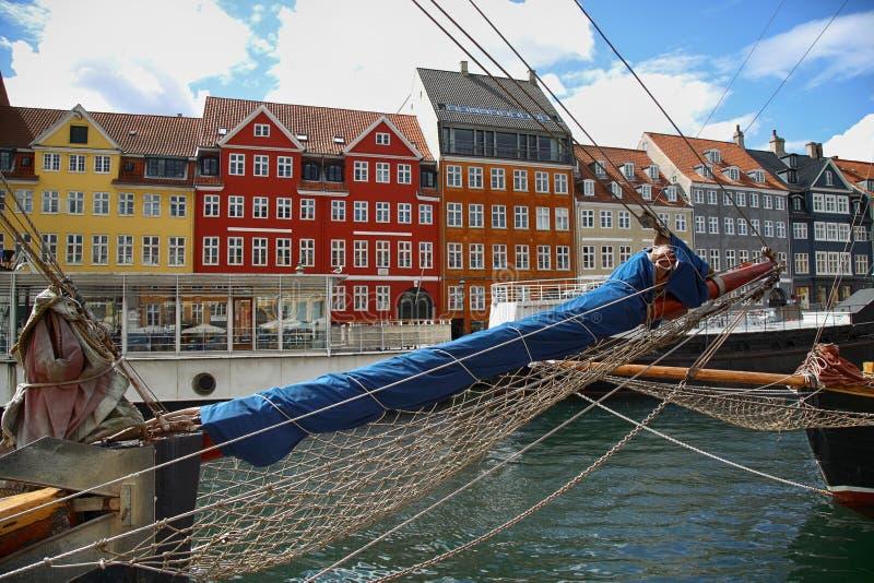 Nyhavn (porto novo) em Copenhaga, Dinamarca fotos de stock