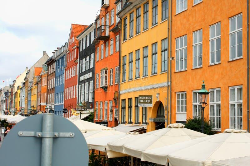 Nyhavn street sign at Nyhavn place, Copenhagen, Denmark. stock photos
