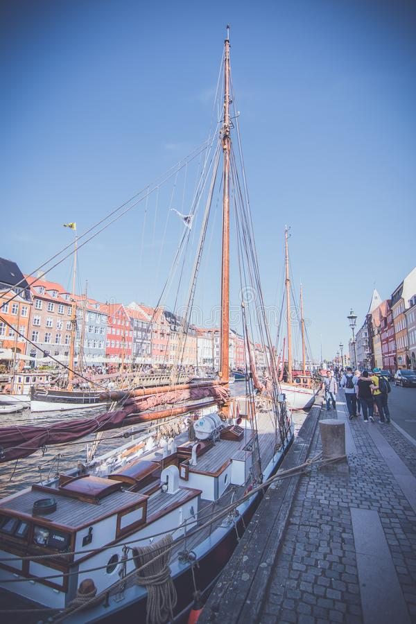 Nyhavn waterfront, Copenhagen, Denmark royalty free stock photo