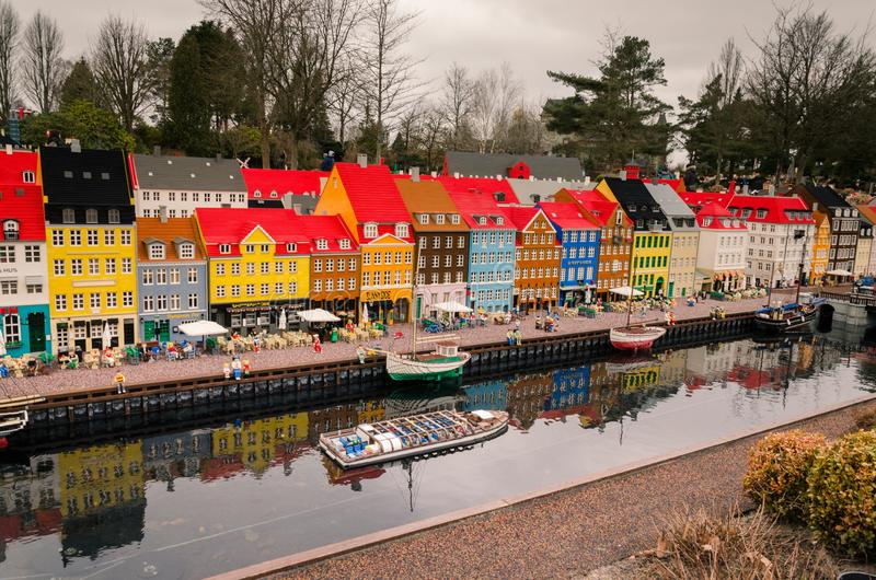 Nyhavnhaven, Kopenhagen van Lego wordt gemaakt die royalty-vrije stock afbeelding