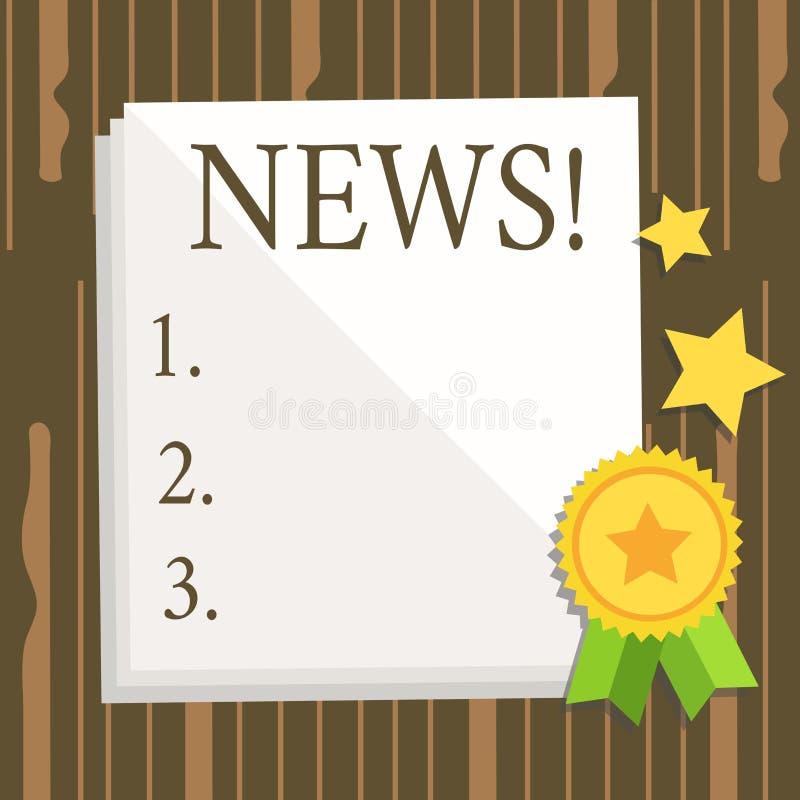 Nyheterna för ordhandstiltext Affärsidé för arket för föregående okänd information om nya händelser för rapport det vita tomma av royaltyfri illustrationer