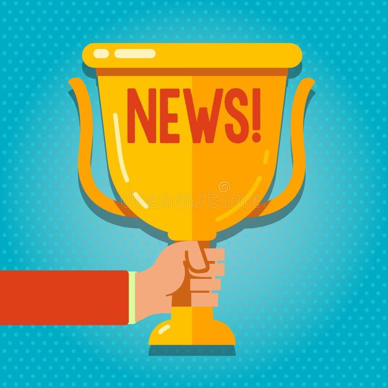 Nyheterna för ordhandstiltext Affärsidé för mellanrum för innehav för hand för föregående okänd information om nya händelser för  royaltyfri illustrationer