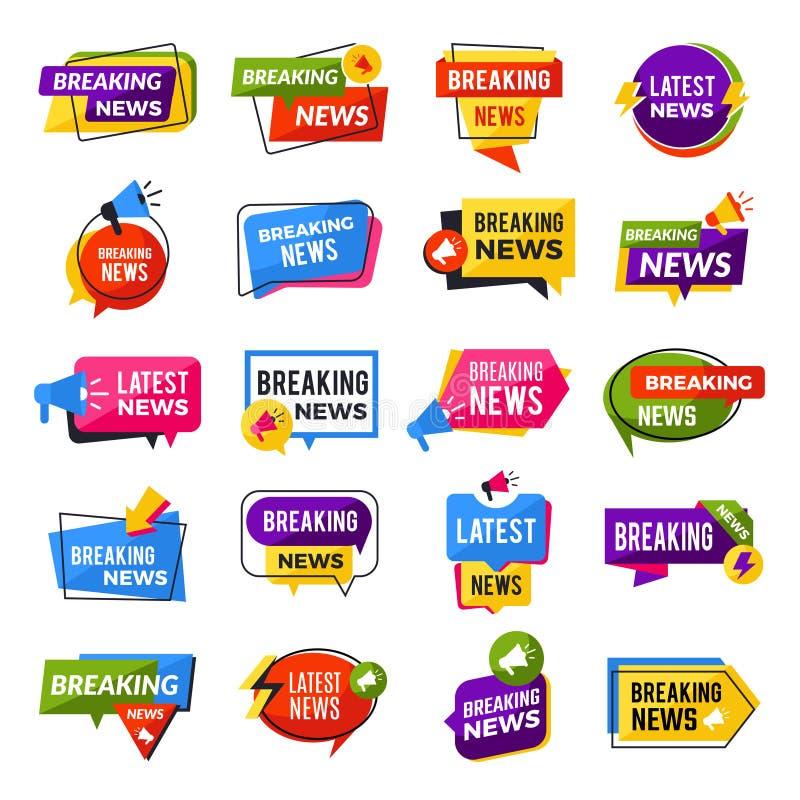 Nyheterna meddelar Annonsering bryta för rapportvektor för speciala erbjudanden geometriska mallar för emblem stock illustrationer