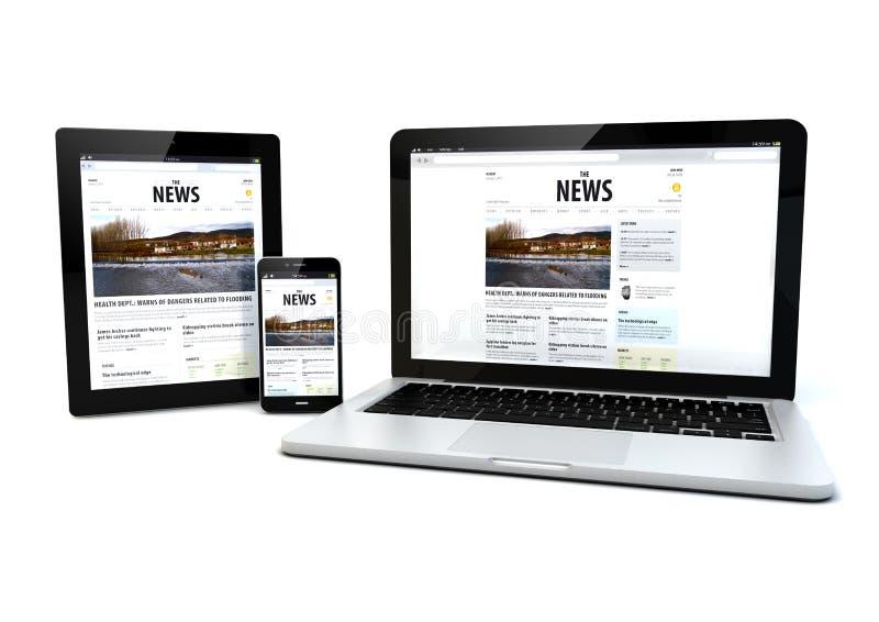 Nyheterna på en minnestavla, en bärbar dator och en telefon vektor illustrationer