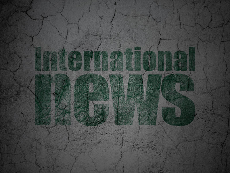 Nyheternabegrepp: Internationell nyheterna på grungeväggbakgrund royaltyfri illustrationer